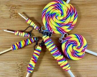 Rainbow lollipop polymer clay food charm jewelry