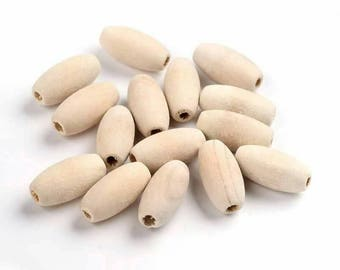 20pcs Oval Wooden Beads (Unfinished) 20mm x 10mm
