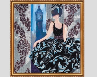 """The kit for a Embroidery with beads by ABRIS ART  """"Window to London"""""""