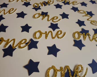 One star confetti, First Birthday decoration, 1st birthday party, Baby Party Decor,  Little Prince Party, First Anniversary