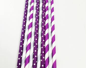 10 purple and silver paper party straws, pink, blue, black, silver, gender reveal, 1st birthday, baby shower, graduation, party decoration
