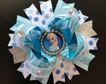Large elsa hair bow- frozen hair bow- princess Elsa frozen hair bow-frozen blue white and silver hair bow-Bottlecap elsa frozen bow