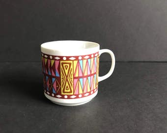 Boho mug midcentury modern design triangle rectangle pattern purple white blue pink green
