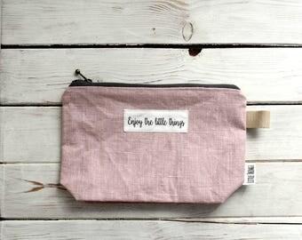 Pouch Zipper Bag Textile Cosmetic Bag Makeup Organizer DUSTY PINK COLOR
