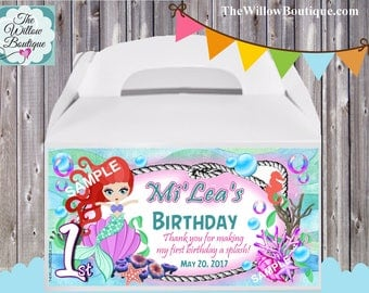 Personalized MERMAID Birthday Party Under the Sea Favor goody treat Box Container