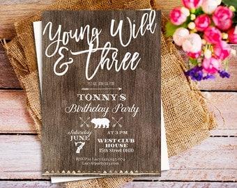 Young Wild and Three invites, Young Wild and Three Birthday Invitation, Girls 3rd Birthday Invite, Third Birthday Invitation, DIY Printable