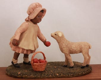 "Miss Martha's Collection by Enesco. Sara Lou. ""Here, Lammie"" in Original Box with Certification. 443301"