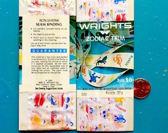 """Vintage 1969 3 yd. Roll 1/2"""" Wright's Zodiac Trim Seam BindingTrim Ribbon Notions Costume Sewing Doll Astrology Collectible Scrapbooking Fun"""