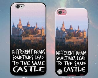 Different Roads Sometimes Lead to the Same Castle Quote Rubber Case for iPhone 7 6s 6 Plus iPhone SE 5s 5 5c iPod Touch 6th Gen 5th Gen