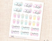 Movie date stickers - 26 cute, pastel, hand-drawn planner stickers - popcorn, movie night
