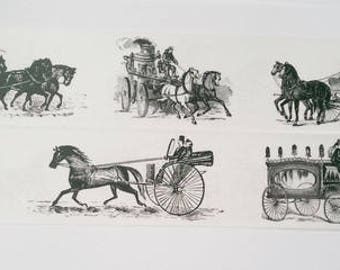 Design Washi tape carriage horses black white