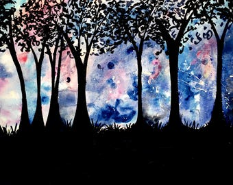 Galaxy Forest Landscape 8x12 Art Print