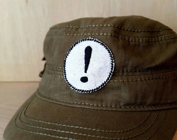 Embroidered Exclamation Point Upcycled Canvas Iron On Artisan Made Jacket Hat Patch