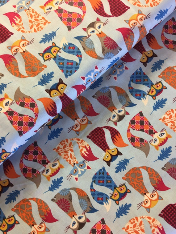 Fox wilderness fabric fabric material sewing for Fox print fabric