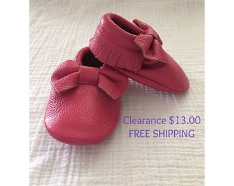 Dark Pink Bow Leather Moccasins