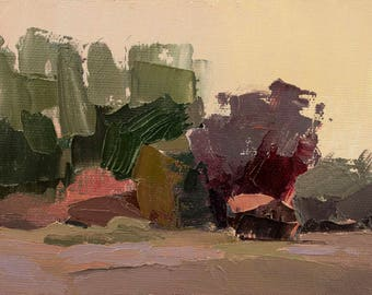 Green and Purple, Original plein air palette knife landscape painting on 4x6 canvas board.