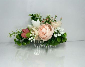 White Pink Flower comb Wedding flower comb Bridal flower comb Floral comb Cream  flower comb Bridal hair accessories