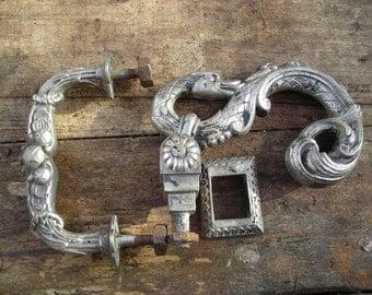 Antique Door Knocker and Handle.   Old French Door Knocker Set. Matching Door Set.