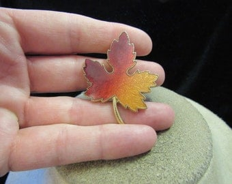 Vintage Goldtone Burgandy Red & Orange Enameled Leaf Pin