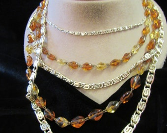 Vintage Chunky Multi Stranded Goldtone Chains & Brown Yellow Glass Beaded Necklace