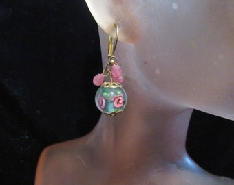Vintage Pair Of Pink-Blue Glass Rose Beaded Stone Pierced Dangle Earrings