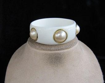 Vintage Chunky White & Faux Pearl Bangle Bracelet