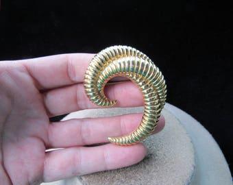 Vintage Signed Monet Large Goldtone Pin