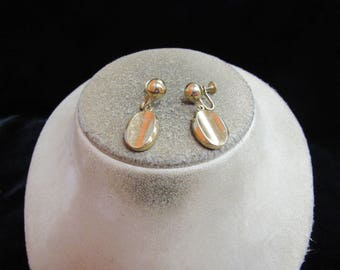Vintage Pair Of Signed Marin Goldtone Screw Back Dangle Earrings