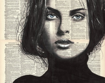 """Woman Portrait 1, 16x20"""" Original Ink/Watercolor Painting on Book Pages"""