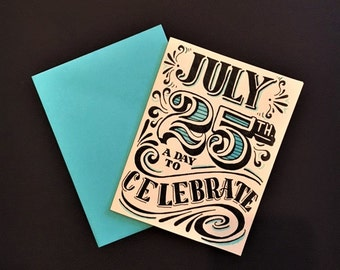 blue black and white hand lettered customized birthday card