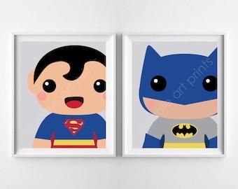 "Super Heroes Art Print, Batman & Super Man, BUNDLE TWO Prints, Boy Playroom Nursery Wall Art Kids Room Decor, Digital Instant Download 8x10"""