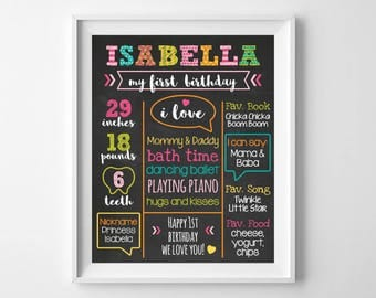 First Birthday Chalkboard, Poster Sign, First Birthday Baby Girl Chalkboard, 1st Birthday Board, Rainbow Custom Personalized Printable File