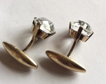 Antique RUSSIAN Gold plated sterling SILVER 875 cufflinks genuine rock crystal