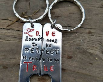 Couples keychain-wedding date keychain-matching couples gifts-partner gifts