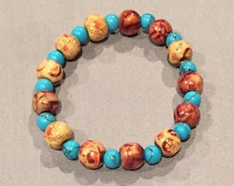 Turquoise and Brown Bead Bracelet
