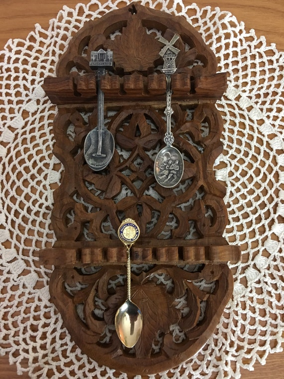 Vintage Archana Hand Carved Wooden Spoon Holder From India