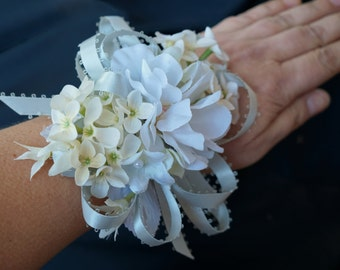 White Ivory Wrist Corsage Wristlet Silver Grey Wedding Prom Mother of the Bride Winter Formal