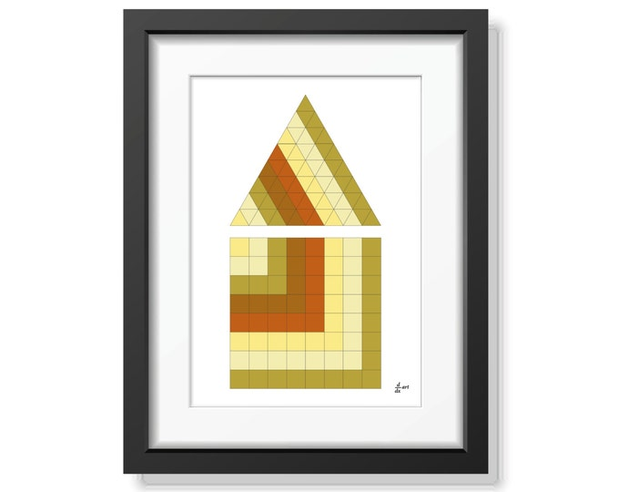 Triangle and square 06 [mathematical abstract art print, unframed] A4/A3 sizes