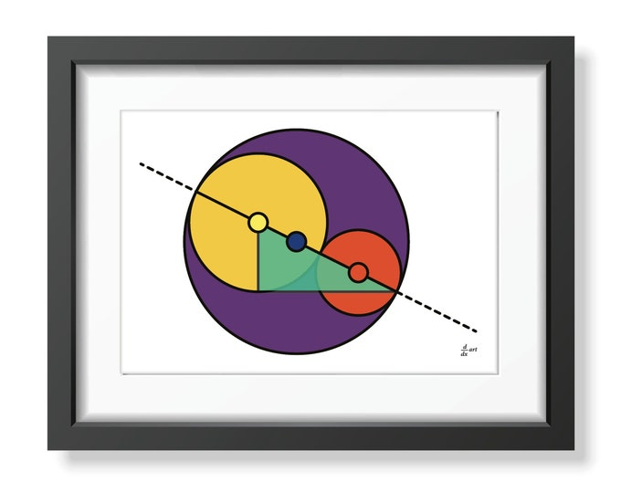 Golden Ratio Circles 09 [mathematical abstract art print, unframed] A4/A3 sizes