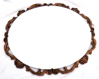 """FREE SHIPPING Large Gold Oval Mirror, Rococo Style, 1920, English Carved Gilted Wood, Beveled Glass, Acanthus Leaf 21.5"""" x 17.5"""" 54cm x 44cm"""