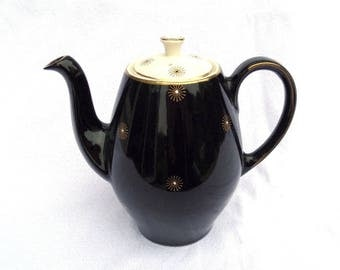 Coffee Pot, Alfred Meakin England, Midnight Star, 1950's, Hand Painted Artist Signed, Matching Pieces Available, 1.75 pint, Immaculate!