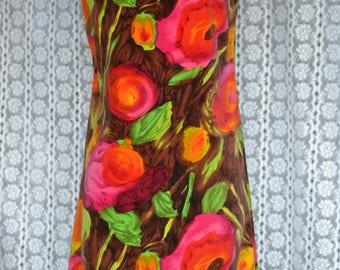 Vintage 60's Velvet Psychedelic Floral Hippie/Mod Dress by Beeline Size 10