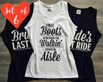 6 Bridesmaid Shirts | 6 Bridesmaid Tank Tops | Bridesmaid Shirt Set of 6 | Custom Print | Modern Design | Custom Font | Glitter Bridal shirt