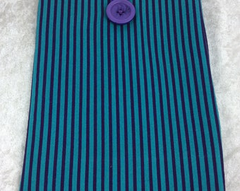 Stripy Small Tablet Case fabric cover pouch Handmade in England
