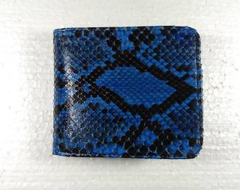 Genuine Python Snakeskin Leather Bifold Wallet BLUE PYTHON WALLET