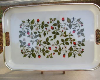 Strawberry Serving Tray, Garden Decor, Strawberry Kitchen, White, Gold, Green, Red Tray, Lacquerware