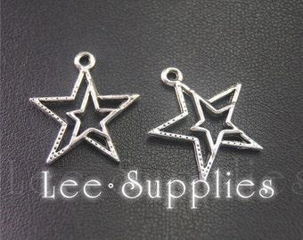 30pcs Antique Silver Five-pointed Star Charms Pendant A2000