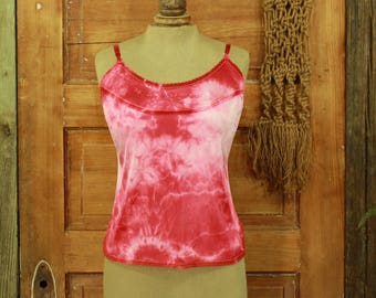 SALE vintage hand dyed red & white floral camisole slip top lace details S M