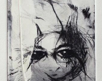 Feather etching print, Original drypoint, Weird intaglios, odd art, claws intaglio etching, Strange portrait, Unusual art gift for her
