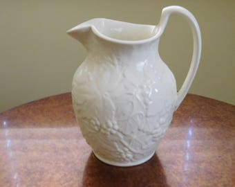 Wedgwood Pitcher - Jug - Etruria and Barlaston.  England.  Grape Leaf pattern.  Cream.  6 /12 inches tall at handle.